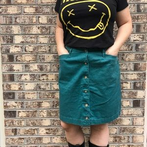 Vintage Button Down 90's High Waist Mini Skirt